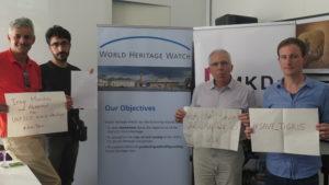 نشطاء الحملة مع السيد ستيفان مدير منظمة مراقبة التراث العالمي
